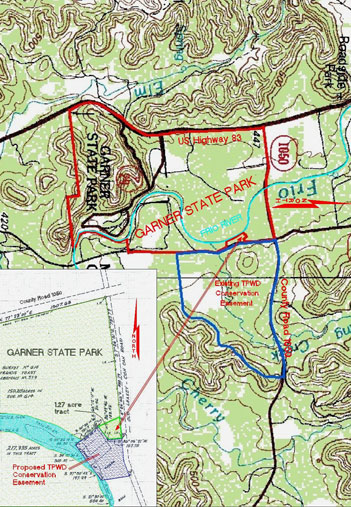 This image is a representation of where the proposed sale property lies in relation to Garner State Park