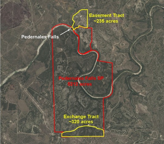 Site Map of Pedernales Falls SP Showing Subject Tracts