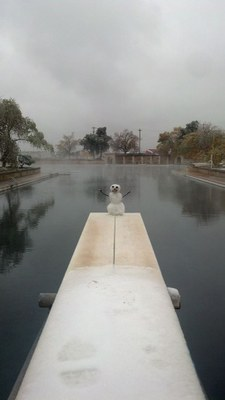 Snowman on diving board at Balmorhea