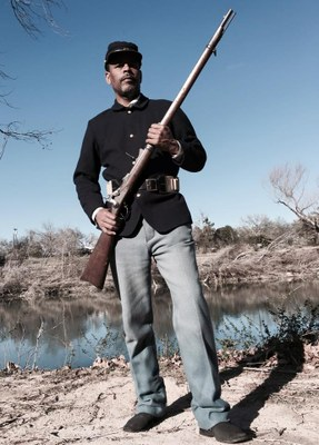 Buffalo Soldier holding a rifle