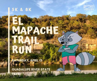 El Mapache title and cartoon racoon in front of Guadalupe River