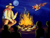 Cowboy Campfire Santa overhead