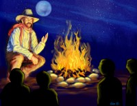 Illustration of cowboy beside campfire at night