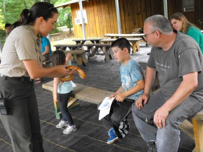 Ranger Amy shows a corn snake to Dad and Daughter.