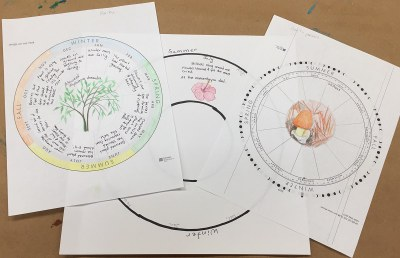 papers with phenology wheels on them