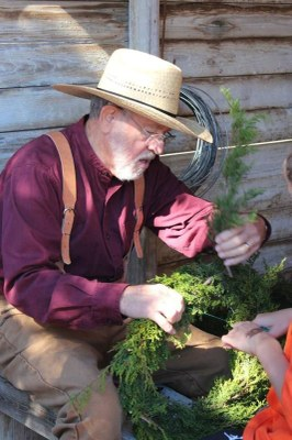Wreath making at the Sauer-Beckmann Farm