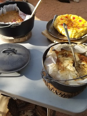 Dutch ovens with dessert inside