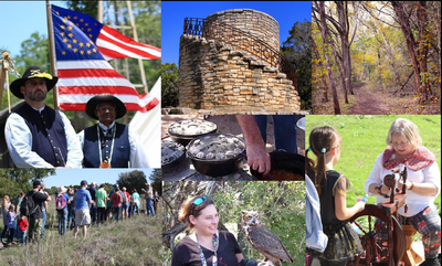 Picture collage with buffalo soldiers, rock tower, trail, hikers, dutch oven, weaver and lady with owl