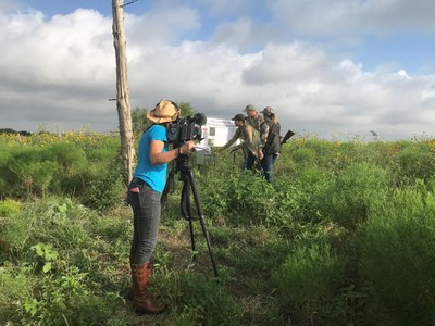 film crew on location in park