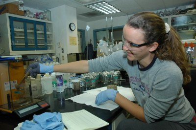 TPWD biologist in lab