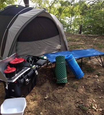 A 6 Person Tent, Propane Stove and Fuel, 2 Cooking Pots, 1 Frying Pan, 2 Cots, Tongs, Cooking Spoons, Spatula, 1 Foam Pad per Youth, Wash Basins, Broom, Dust Pan, Mallet, and Coffee Press (on request)