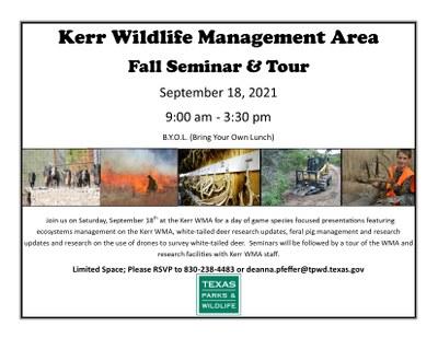 September 18 Kerr WMA Fall Seminar & Tour