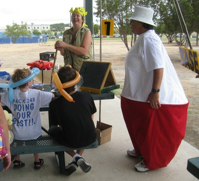 woman dressed in fishing bobber costume teaching kids