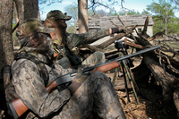 Turkey hunters using calls to bring in turkey