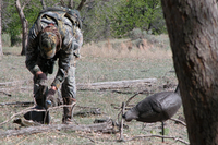 hunter deploying decoys in the water