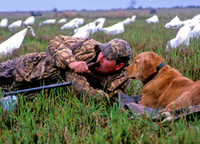waterfowl hunter with his dog