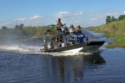 Hunters in air boat