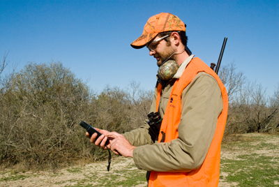 Hunter using a GPS