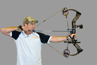 Drawing compound bow with trigger release