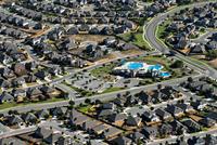 aerial view of suburban housing neighborhood