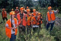 Youth hunters with adult guide