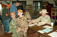 youth hunters checking in at a public hunt