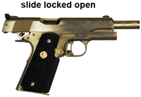 Semi-Automatic pistol with slide locked open.
