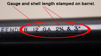 gauge and shell length stamped on barrell
