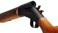 Closeup image of single barrel break action shotgun