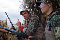 Hunters inside duck blind