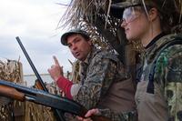 Hunters inside duck blind