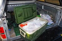 deer carcass packed in ice chest
