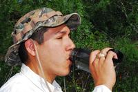 Hunter drinking water