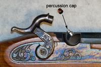 Closeup of percussion cap and nipple