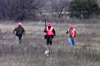 hunters in field with dog