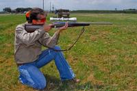 Shooter in kneeling position