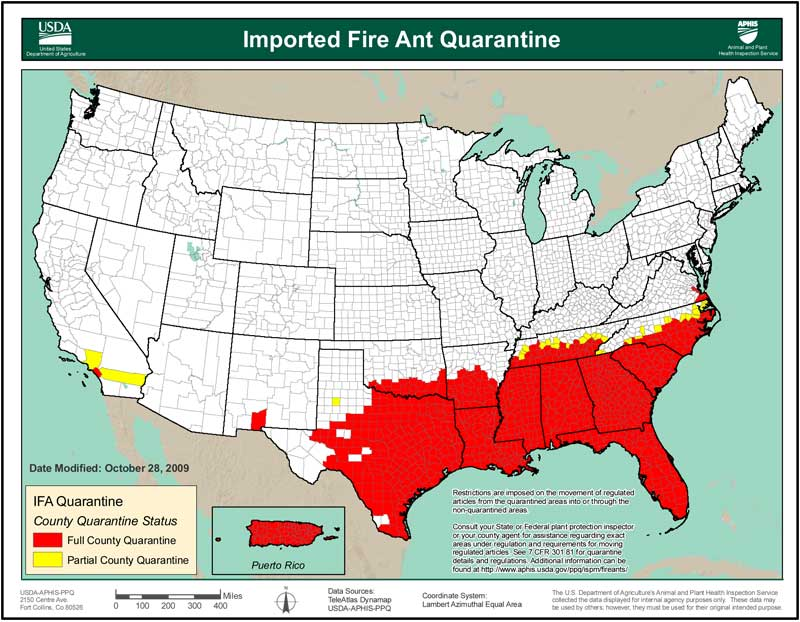 Background For Teachers Texas Parks Wildlife Department - Map of where fire ants are found in the us