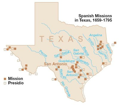 Map Of Spanish Missions Texas Parks Amp Wildlife Department