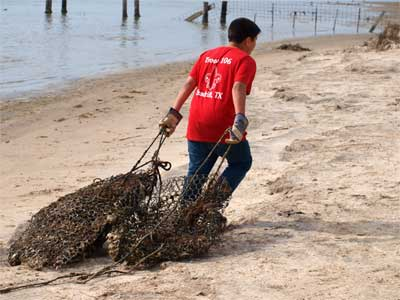 Volunteer hauling nets