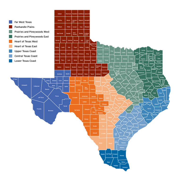 Map Of Texas With Cities And Counties.Regional Tournament Map Texas Parks Wildlife Department