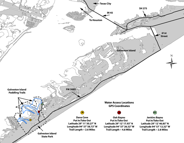 TPWD Galveston Island State Park Paddling Trail – Galveston Tourist Map