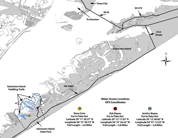 Galveston Map Of Texas.Tpwd Galveston Island State Park Paddling Trail Texas