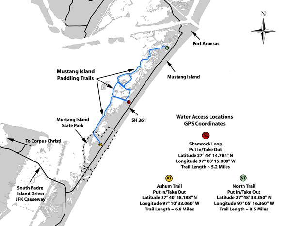 State Of Texas Road Map.Tpwd Mustang Island Paddling Trail Texas Paddling Trails