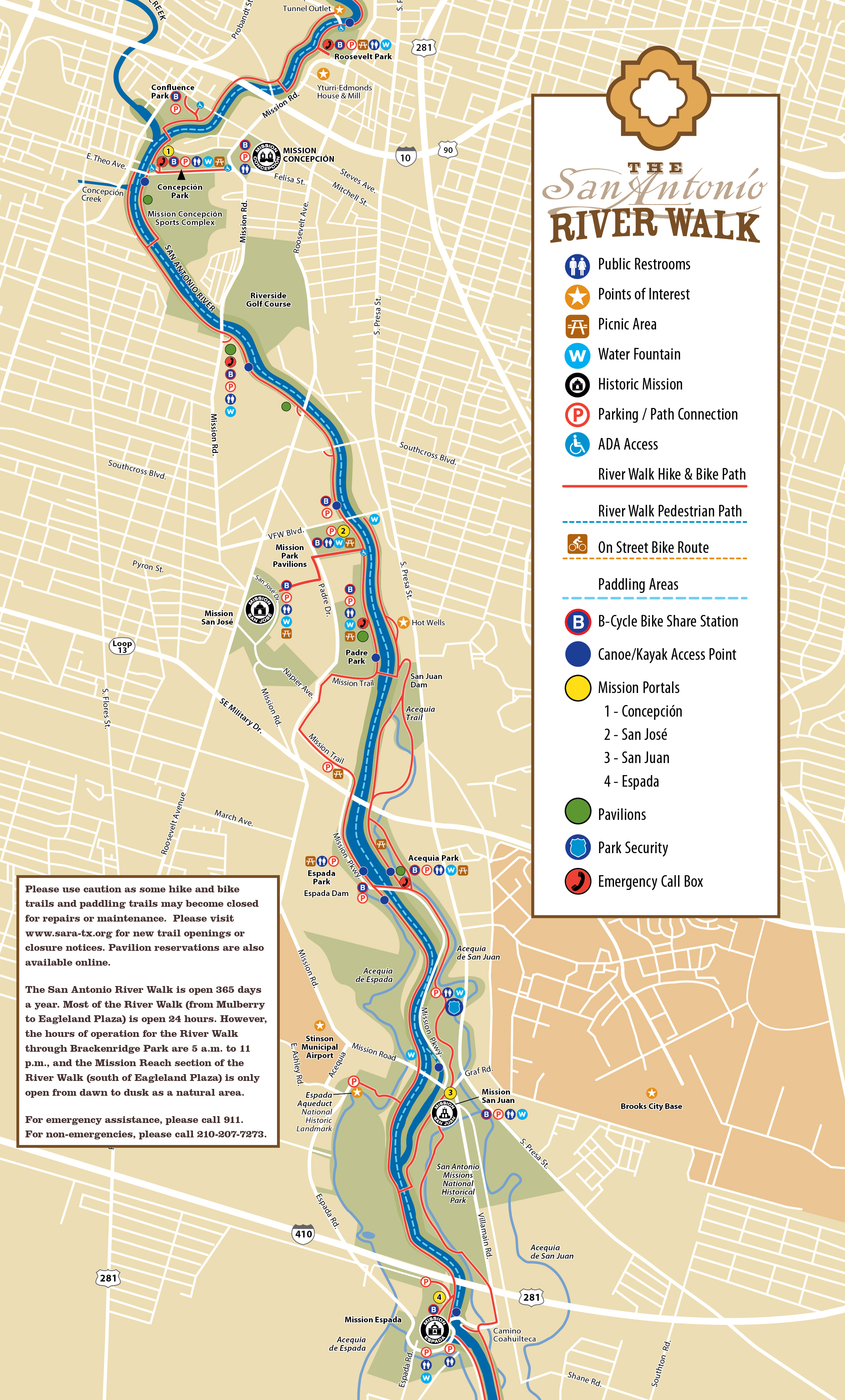 san antonio bike trails map Tpwd Mission Reach Paddling Trail Texas Paddling Trails san antonio bike trails map