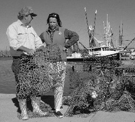 view of two volunteers evaluating 