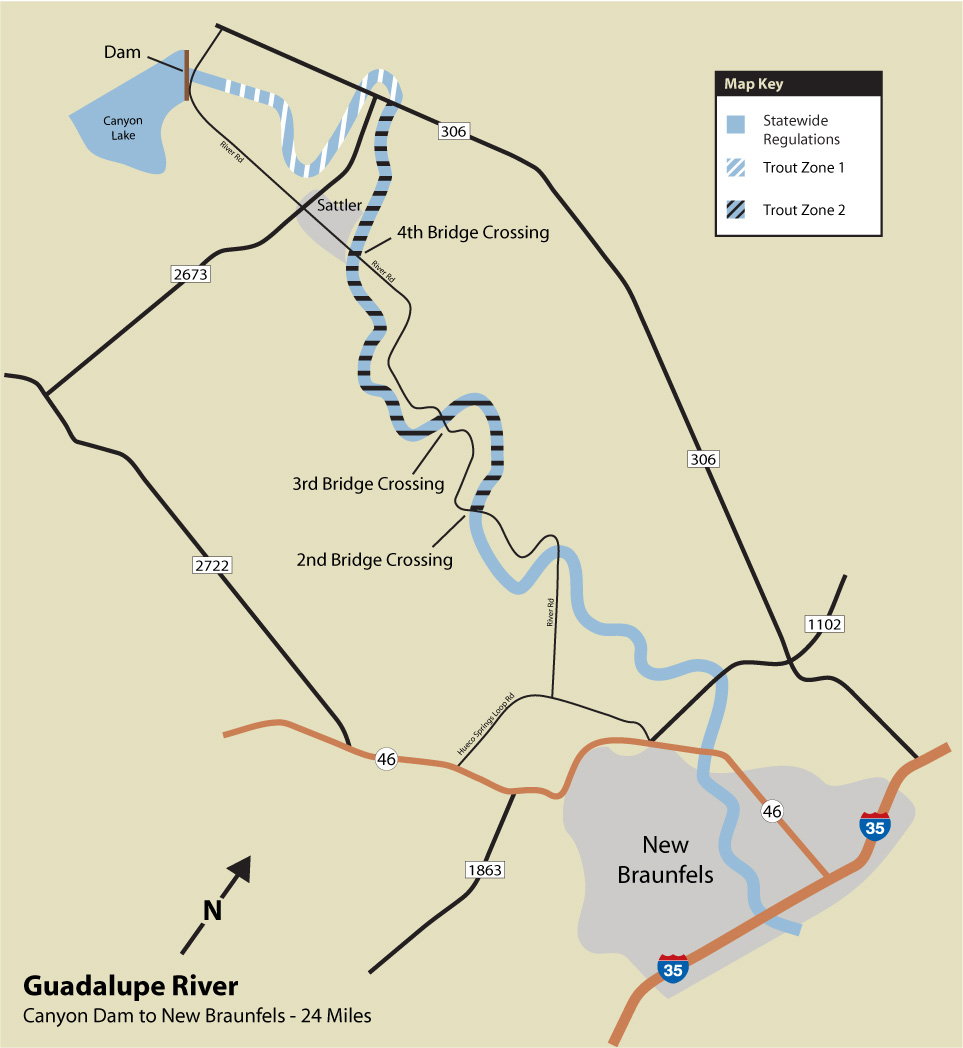 Guadalupe river fishing access points for Fishing rules in texas