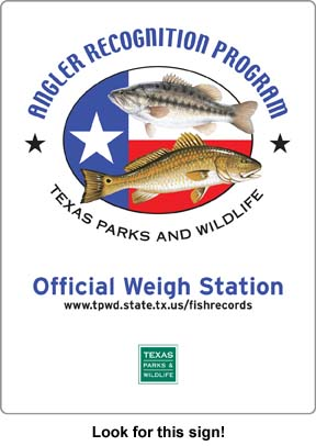 Certified scales for weighing record fish for Texas freshwater fishing license