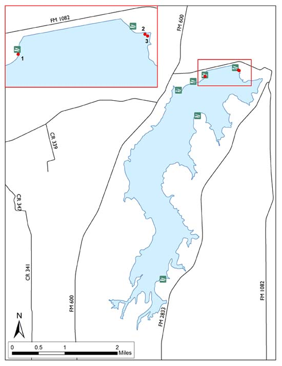 Diagram showing locations of brush piles