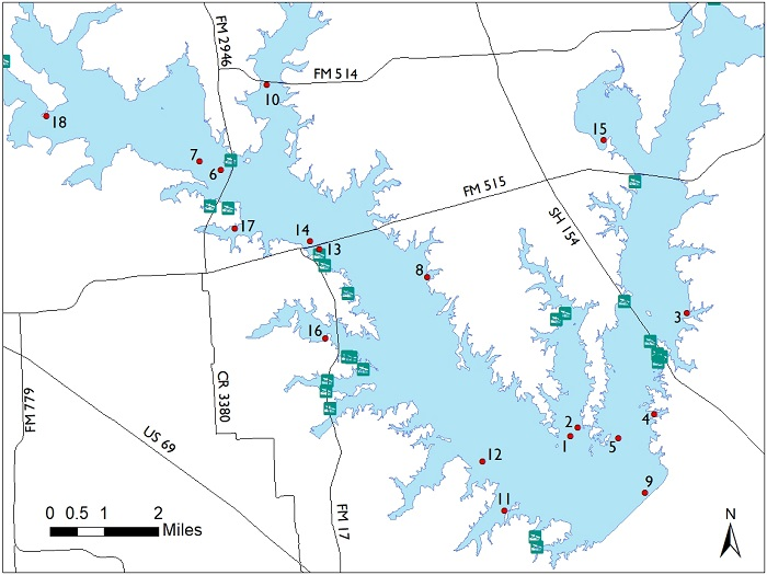 lake norman fishing map Lake Fork Fish Attractors lake norman fishing map