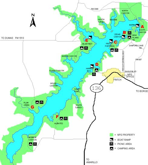Access To Lake Meredith - Where is amarillo texas on the map
